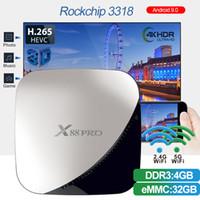 mini box 4g achat en gros de-iLepo X88 pro Rockchip RK3318 Octa Core Android 9.0 4G 32G Smart TV BOX 2.4G / 5g Dual WiFi 4k Set Top Box Lecteur multimédia PK X96