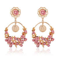 Wholesale baroque rings for sale - Group buy New European and American style rural retro exaggerated earrings fresh flowers big ring nailed Baroque earrings factory direct