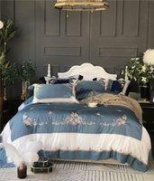 ingrosso set di jilt floreali blu-Biancheria da letto in cotone egiziano di lusso verde blu Set ricamo floreale Letto matrimoniale Queen Lenzuola Copripiumino Duver Federa da letto