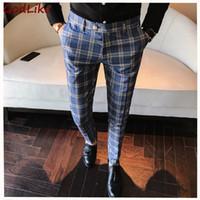 pantalones casuales para hombre de la boda al por mayor-Nuevo 100% de alta calidad a cuadros pantalón de la boda formal para hombre Slim Fit pantalones de moda casual marca pantalones rectos de vestir