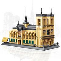 ingrosso super eroe assemblando elementi costruttivi-WANGE 5210 Architecture Notre-Dame De Paris Building Blocks Imposta City Bricks Classic Skyline Modello Regalo Giocattoli Lego compatibili