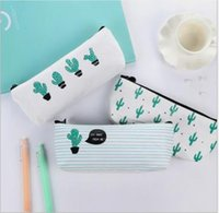 Wholesale bag school girl korea for sale - Group buy Cactus canvas pencil case Korea Simple girl small fresh Cute zipper pencil bag male student pencil case