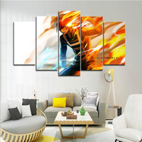 Wholesale hero decor resale online - 5PCS Framed Wall Art Boku No Hero Academia Anime Wall Art Pictures for Living Room Decor Posters and Prints Canvas Painting