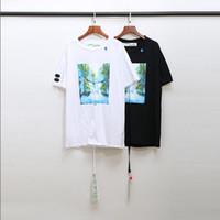 siyah beyaz şerit gömlekler kadın toptan satış-20ss Yeni Beyaz şerit severler tişört Erkek Kadın Casual tişört kısa kollu Yaz Pamuk Giyim Baskılı Tişörtler Siyah