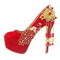 talons dorés fleurs achat en gros de-Plus la taille 33 34 à 40 41 42 chaussures de mariage de chaîne de fleur d'or rouge à talons hauts chaussures femmes