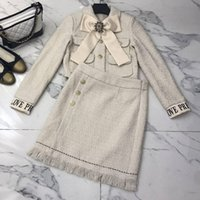 большие юбки оптовых-Long Sleeve 2 Piece Runway Skirt Tweed Sets Women Big Bow Wool Short Coat Lady Office Wear+bodycon Mini Tassel Skirt A134