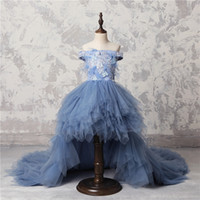 Wholesale teenagers girl dresses online - Real Image Off Shoulder Girls Pageant Dresses High Low Sweep Train Tulle Teenager Birthday Gowns Lace Appliques Feather Flower Girls Dresses