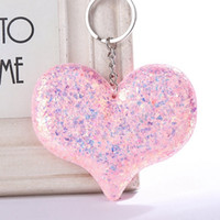 Wholesale girls boy love cartoon resale online - Sequins Love Keychain Shiny Reflective Cartoon Couple Keychain Ms Personality Accessories Heart shaped Car Keys Pendant