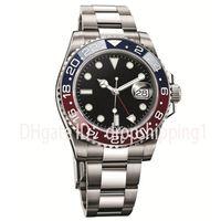 blue sapphire venda por atacado-2019 luxo mens relógios Basel vermelho azul 40mm Movimento Automático Mecânico Relógios De Luxo Em Aço Inoxidável Safira Montre de luxe