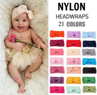 bebek yayı toptan satış-21 Renkler INS Avrupa ve Amerikan bebek şeker renkler Yay bandı bebek kız zarif saç yaylar aksesuarları