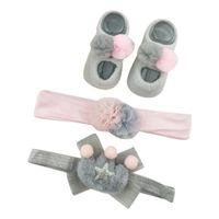 neue design baby haare zubehör blume großhandel-Nette neue Säuglingsmädchen-Haar-Zusätze neugeborene Baby-Cartoon-Blumen-Entwurf Cotton Socken mit Haarreif Fotografie Props Set #C