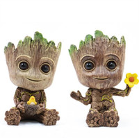 Wholesale toy pots online - Groot Flowerpot Flower Pot Planter Action Figures Guardians of The Galaxy Toy Tree Man Pen Flower Pots LJJK1637