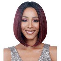 wein rote kurze haare großhandel-Damen-Bobo-Haartyp in der Mitte aus chemischer Faser, schwarz gefärbt, weinrot mit Farbverlauf, kurzes Haar-Set jooyoo