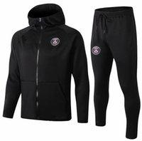 siyah şapka eğitimi toptan satış-2018 2019 PSG Uzun Çekme Şapka Paris Siyah ceket hoodie eğitim takım Şampiyonlar Ligi Survetement 18 19 PSG MBAPPE futbol ceketler POGBA yani