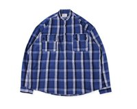 camisa de franela azul de los hombres al por mayor-Top Fear Of God Hip Hop Plaid Shirts New Justin Bieber Fog Men Unisex Flannel Camisa a cuadros de manga larga Rojo azul Camisa casual