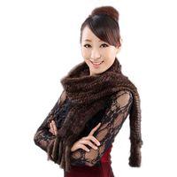 ingrosso lavorazione a maglia della pelliccia-Nuove sciarpe del visone lavorate a mano sciarpa della sciarpa della pelliccia del visone genuino della marmitta di Ms all'ingrosso e al minuto