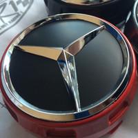 ingrosso coprimozzo centrale benz-4 pezzi Coprimozzo per auto Coperchio centro cappucci in rilievo per Mercedes Benz AMG rosso nero cromato 75mm auto modificata