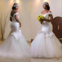 Wholesale simple african wedding dresses online - African Plus Size Corset Mermaid Wedding Dresses Off Shoulder Satin Tulle Ruffles Gorgeous Bridal Gowns Lace Up Cheap