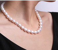 Wholesale oval freshwater pearls resale online - Pearl Necklace White Oval Natural Freshwater Jewelry Choker Necklace Wedding Jewerly quot