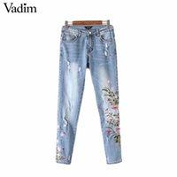 ingrosso i jeans floreali ansimano l'annata-Vadim donna vintage ricamo floreale fori tasche jeans denim pantaloni alla caviglia pantaloni casual marca Kz886