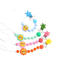 Wholesale baby holders for sale - Group buy Hot sale Cartoon Baby Pacifier Chain Silicone Beads Dummy Clip Holder Cute Pacifier Clips Soother Chains for Baby Chew BPA A8564