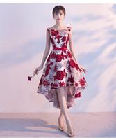 asymmetrical length wedding dress venda por atacado-Rendas Vestidos de Noite 2018 Assimétrico Prom Vestido Formal Applique Elegante Festa de Casamento Arco Tea-Comprimento Vestido Robe De Soiree