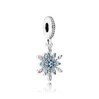 halskette machen zubehör großhandel-925 Sterling Silber Kristall Schnee Anhänger Charms Original Box für Pandora European Bead Charms Armband Halskette Schmuck machen Zubehör