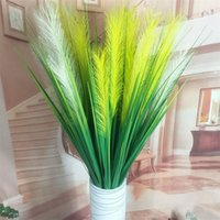 Wholesale green plastic grass plant online - Fashion Home Artificial Grass Plants CM Heads Reed Creative Home Wedding Party Office Decoration Green Plants TTA528