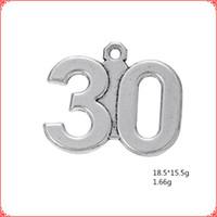 etiquetas de números vintage al por mayor-30 piezas antiguo vintage plata tibetana número numeral encantos etiqueta colgante de aleación de metal colgantes para collar pulsera pendiente diy fabricación de joyas