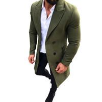 çift göğüslü trençkot ceket erkek kış toptan satış-Erkek Trençkot 2018 Yeni Moda Tasarımcısı Erkekler Uzun Ceket Sonbahar Kış Kruvaze Rüzgar Geçirmez Ince Siper Erkekler Artı Boyutu