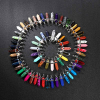 Wholesale heart natural stone for sale - Group buy Bulk Natural stone Pendant Hexagonal prism Bullet Quartz Point Healing Crystals Chakra Cross Heart charm For Necklace Jewelry Making
