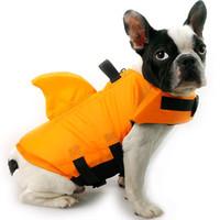 lebensschutzjacke großhandel-Haustiere Badeanzug Hund Schwimmweste Lebensrettende Weste Bademode Sicherheitskleidung Mit Haifischflosse Tragbare Farben Mix 37wyf1