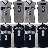 faculdade rápida venda por atacado-# 3 Allen Iverson Georgetown Hoyas NCAA Jersey Mens All Costurado Allen Iverson Universidade Faculdade Basquete Jerseys Transporte Rápido