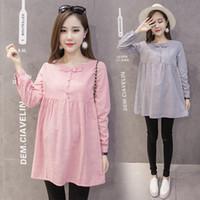 koreanische kleidung locker großhandel-Envsoll New Autumn Korean Umstandskleider Loose Plissee Striped Dress Umstandsmode für Schwangere Schwangerschaftskleidung