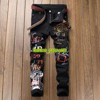 Wholesale designer trousers men online - Fashion Printed Denim Trousers Mens Slim Stretch Casual Straight Trousers Mens Designer Graffiti Jeans men Personality Jeans Black White