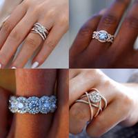 büyük taş gümüş yüzükler toptan satış-Lüks Kadın Büyük Kristal Yuvarlak Nişan Yüzüğü Sevimli 925 Gümüş Gül Altın Kadınlar Için Zirkon Taş Yüzük Vintage Alyans