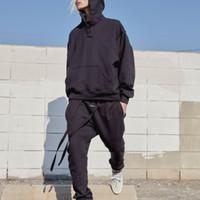 ingrosso pantaloni neri per mens-19SS FEAR OF GOD PANTALONE VI FOG Jerry Black Streamer Pantaloni Elastic Band Design Terry Pantaloni Pantaloni da uomo di alta qualità HFWPKZ089