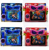 relojes de spiderman para niños al por mayor-New Fashion Kid watch Spiderman Avengers establece caricatura reloj para niños y gafas monedero 3pcs / set para niños