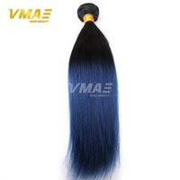 Wholesale colorful human hair resale online - Straight Peruvian dark roots blue human hair bundles non remy hair blue ombre weave tone ombre blue bundles Colorful Hair opp