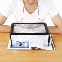 bf32b9837 A4 Full Page Grande PVC Magnifier 3X Lupa Dobrável Lupa Mãos Livres para  Leitura com 4 Luzes LED Espelho
