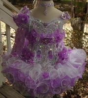 um ombro mini vestido frisado venda por atacado-Luxo um colar de ombro frisada feitas à mão flor bola cupcake cupcake toddler meninas pageant vestidos de flores meninas para casamentos glitz