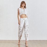 Wholesale female floral tops online - Casual Hollow Out Women Two Piece Set Sleeve Sleeveless Tops High Waist Ankle Length Pants Female Suit Summer