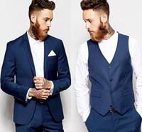 ingrosso vestito da sposa blu navy-Smoking dello sposo Groomsmen Abiti blu scuro con spacco sottile Vestibilità Best Suit da uomo Matrimonio / Abiti da uomo Sposo sposo (Giacca + Pantaloni + Gilet)