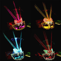 Wholesale feathered headwear for sale - Group buy 6 Colors LED Halloween Party Masks Flash Glowing Feather Mask Mardi Gras Masquerade Cosplay Venetian Masks Halloween Costumes Gift DHL