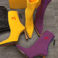 Wholesale sexy leather boots fur for sale - Group buy Fashion high quality pointed knitted boots sexy woman shoes in autumn and winter Knitted elastic boots Designer socks boots Large size