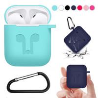 ingrosso trasduttore auricolare antipolvere-Per Apple AirPods Custodie protettive in silicone Custodia con gancio anti-perso Strap Dust per iPhone 7 8 XR XS MAX Auricolari Bluetooth