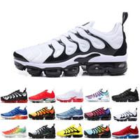 siyah ayakkabı işleri kadınlar toptan satış-Sneaker TN Artı Koşu Ayakkabıları Erkek Kadın Günbatımı Üçlü Siyah Beyaz GÜMÜŞ PATTERNS Oyunu Kraliyet Çalışma Mavi Volt Spor Ayakkabı Ücretsiz Kargo