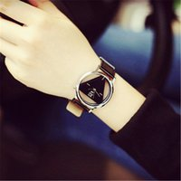 Wholesale triangle clocks resale online - New Fashion Triangle Hollow Watches Quartz Analog Watches Retro Trendy Mens Women Unisex Clock Gift Leather Strap Cheap Hours