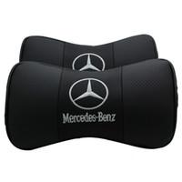leder-selbstkissen großhandel-NEU Für Mercedes Benz 1 STÜCKE Pu-leder Auto Nackenkissen Unterstützung Kopfstütze Sitzkissenbezüge Auto Styling