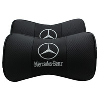 ingrosso copri poggiatesta per auto-Per Mercedes Benz 1 PZ PU Leather Car Neck Cuscino Supporto Poggiatesta Cuscino Auto Car Styling